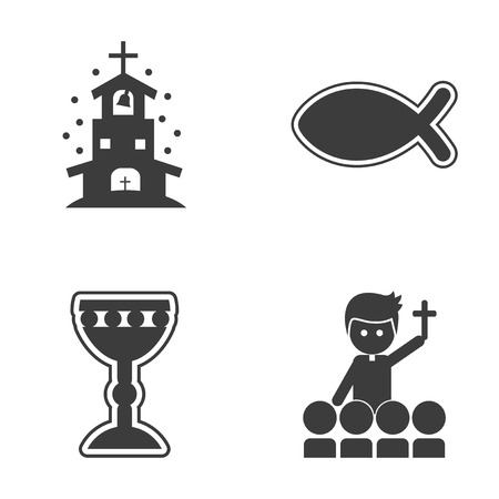 confucianism: Set of flat icon in black and white style religion Illustration
