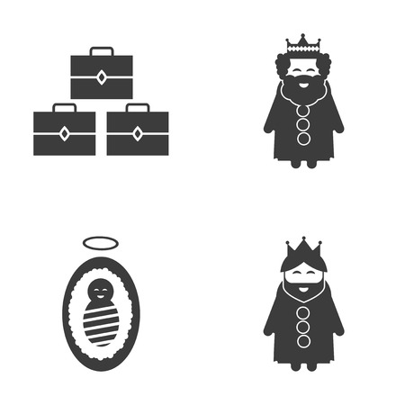 black history: Set of flat icon black and white style biblical history