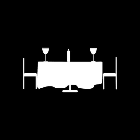 romantic dinner: flat icon in black and white style romantic dinner Illustration