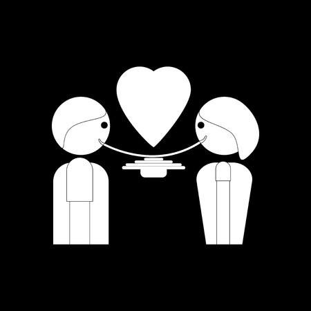 dinner date: flat icon in black and white style man and woman eat
