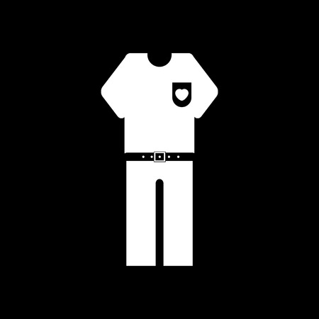 white pants: flat icon in black and white style pants and shirt