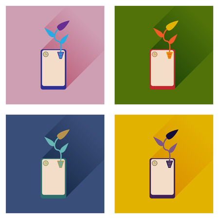 touchphone: Concept of flat icons with long shadow mobile phone