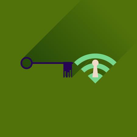 wi fi: Flat icon with long shadow  Key Wi fi Illustration