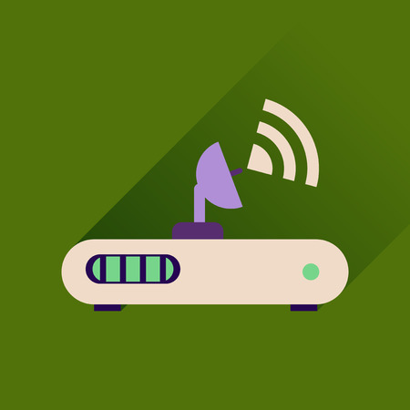 wi: Flat icon with long shadow  Wi fi modem Illustration