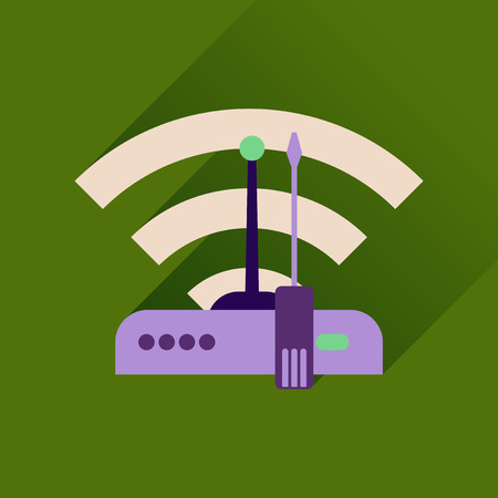 wi fi icon: Flat icon with long shadow  Wi fi modem Illustration