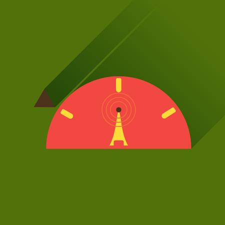 wi fi: Flat icon with long shadow   Wi fi modem