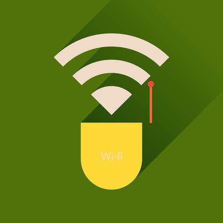wi fi: Flat icon with long shadow  Wi fi modem Illustration