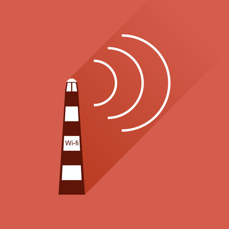 wi fi: Flat icon with long shadow  Wi fi tower Illustration
