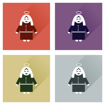 Concept of flat icons with long shadow Mother Jesus Christ