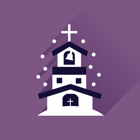 praise and worship: Flat icon with long shadow Catholic church Illustration