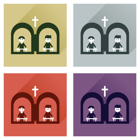 priests: Concept of flat icons with long shadow priests confession