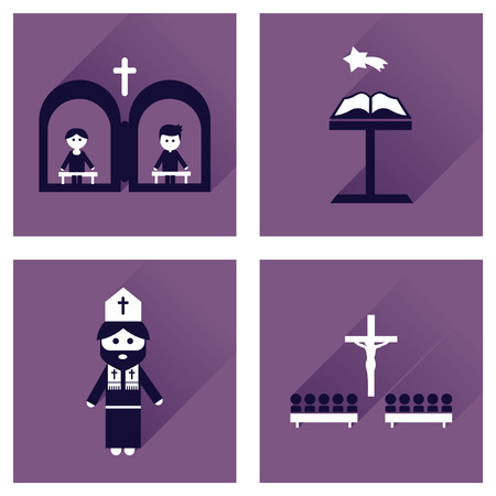 temple of heaven: Concept of flat icons with long shadow Christianity Illustration