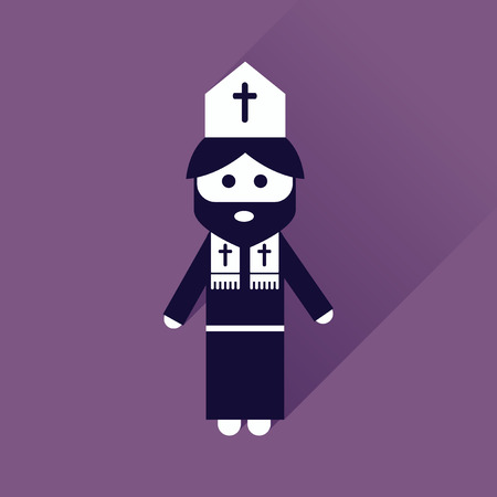 friar: Flat icon with long shadow Christian priest