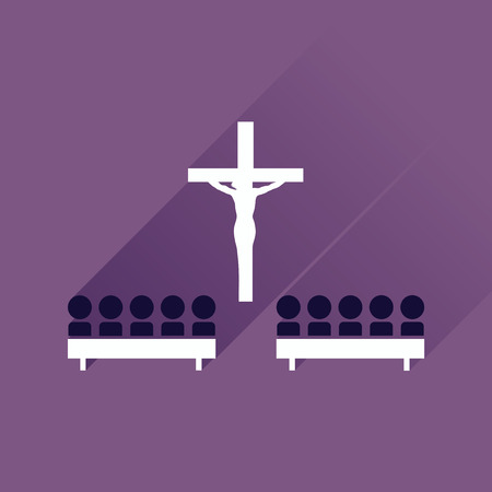 liturgy: Flat icon with long shadow People in church