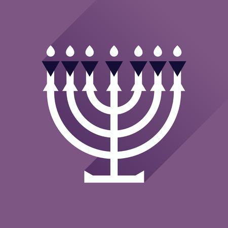 candleholder: Flat icon with long shadow Hanukkah candleholder Illustration