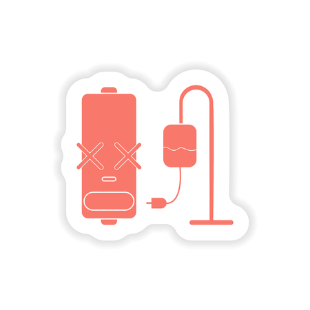 charger: paper sticker on white background  mobile battery charger Illustration