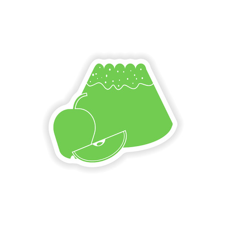 fruitcake: paper sticker on white background   apple cake Illustration