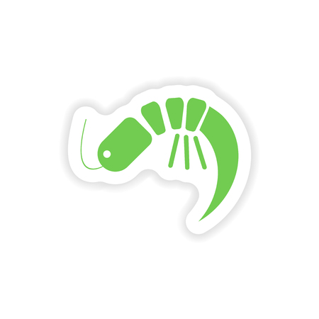 krill: paper sticker on white background   ocean shrimp