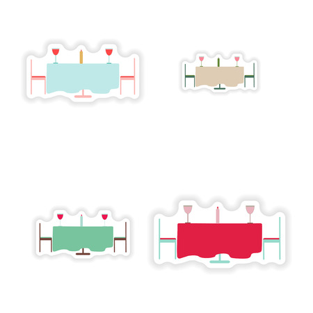 romantic dinner: Set of paper stickers on white background romantic dinner