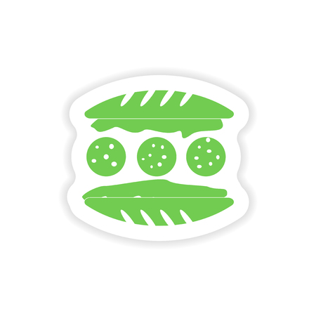 sesame seed: paper sticker on white background  american hamburger