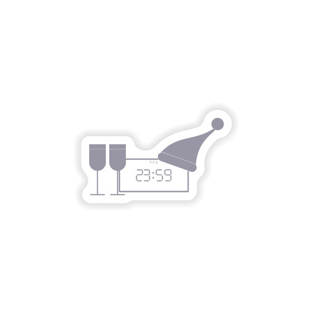 wineglasses: paper sticker on white background  clock wineglasses