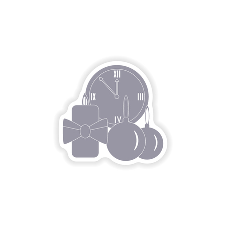 watch new year: paper sticker on white background  watch candle