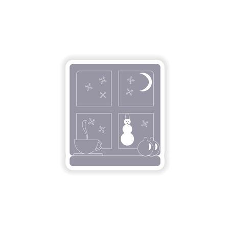 windowsill: paper sticker on white background  snow window Illustration