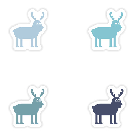santaclause: Set of paper stickers on white background  Christmas Reindeer