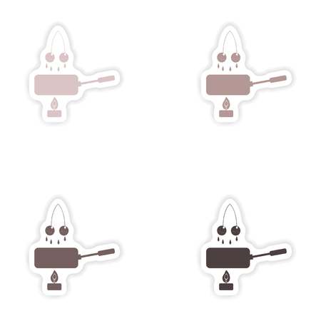 fondue: Set of paper stickers on white background  cherry fondue Illustration