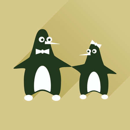 polar climate: Flat web icon with long shadow pair penguins