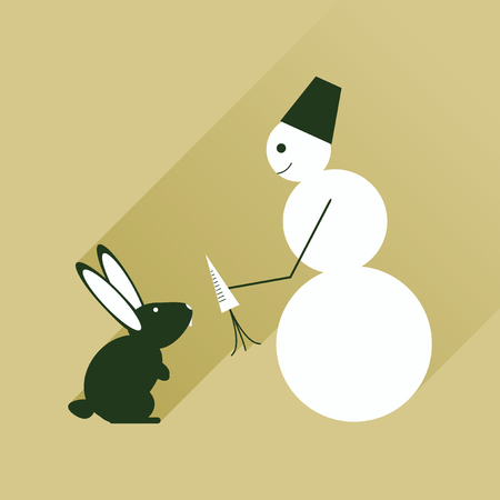 cheerfully: Flat web icon with long shadow snowman and rabbit