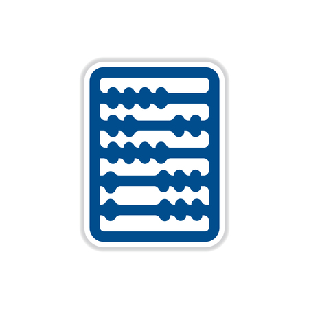 countable: paper sticker on white  background  abacus
