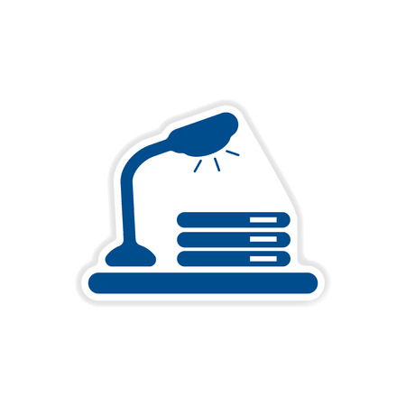 place to learn: paper sticker on white  background table lamp documents