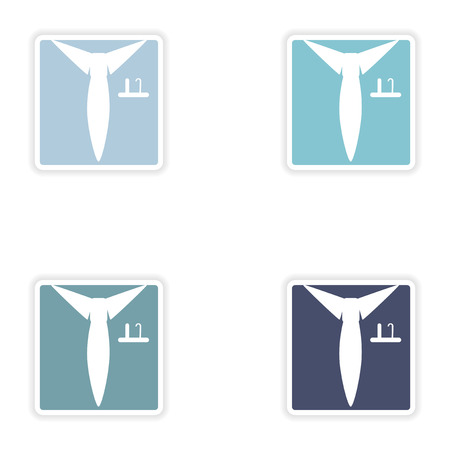 shirt and tie: Set of paper stickers on white background   shirt tie