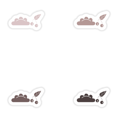 Set of paper stickers on white background  dumplings with cherries