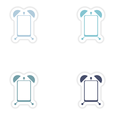 power nap: Set paper sticker on white background  Mobile Phone alarm clock