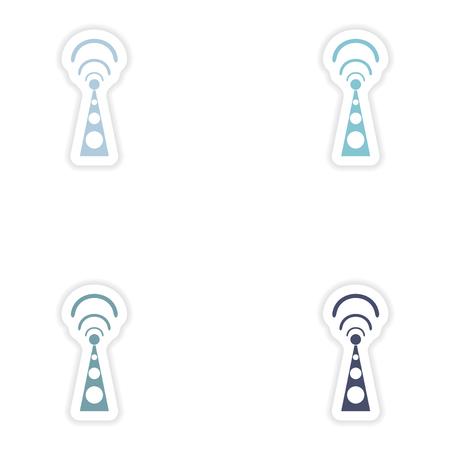 wi fi: Set paper sticker on white background  Wi fi tower Illustration