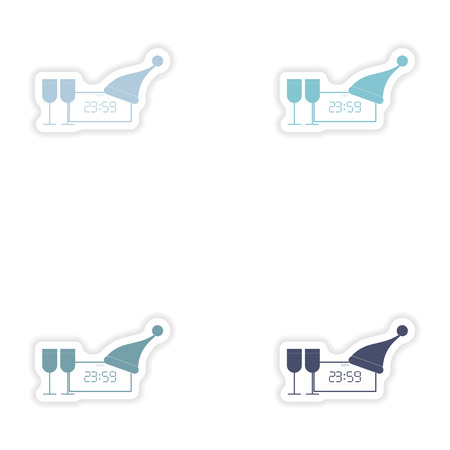 wineglasses: Set of paper stickers on white background   clock wineglasses