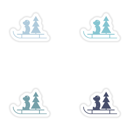 sled: Set of paper stickers on white background   Bear sled tree Illustration