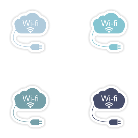 fi: Set of paper sticker on white background  Wi fi cloud Illustration