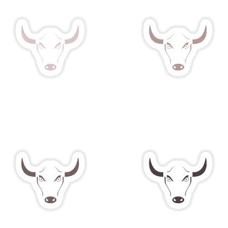 toreador: Set of paper stickers on white background  Bull logo Illustration