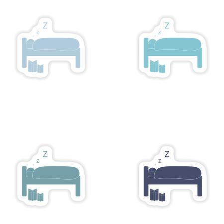sleeping man: Set of paper stickers on white background  sleeping man