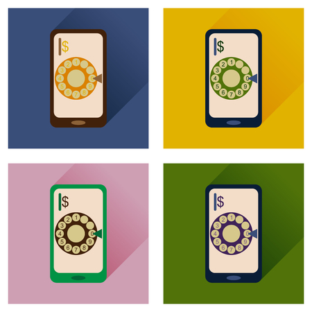 waiting phone call: Concept of flat icons with long shadow mobile call Illustration