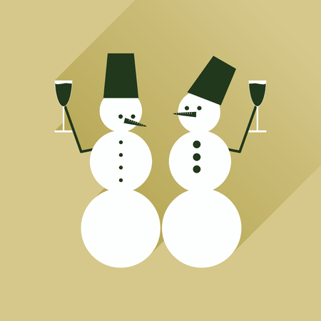 christmas hats: Flat web icon with long shadow Snowmen