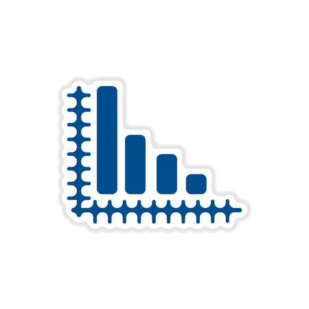 economic: paper sticker on white  background economic graph