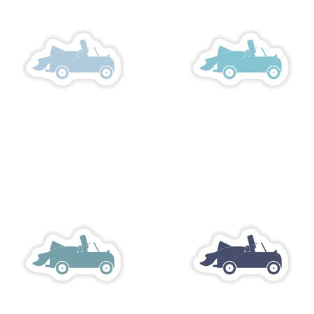 bridegroom: Set of paper stickers on white background   bridegroom car Illustration