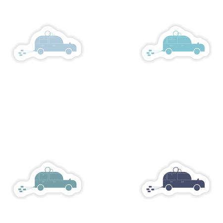 bridegroom: Set of paper stickers on white background  bridegroom car
