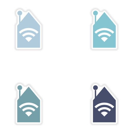 electrical tower: Set of paper sticker on white background   Wi-Fi router Illustration