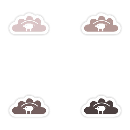 Set of paper stickers on white background  dumpling with pork