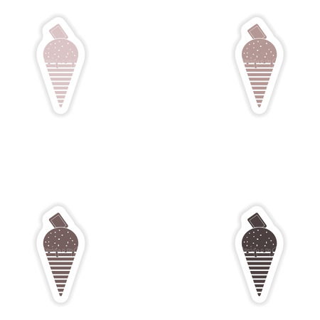 frozen treat: Set of paper stickers on white background  chocolate ice cream